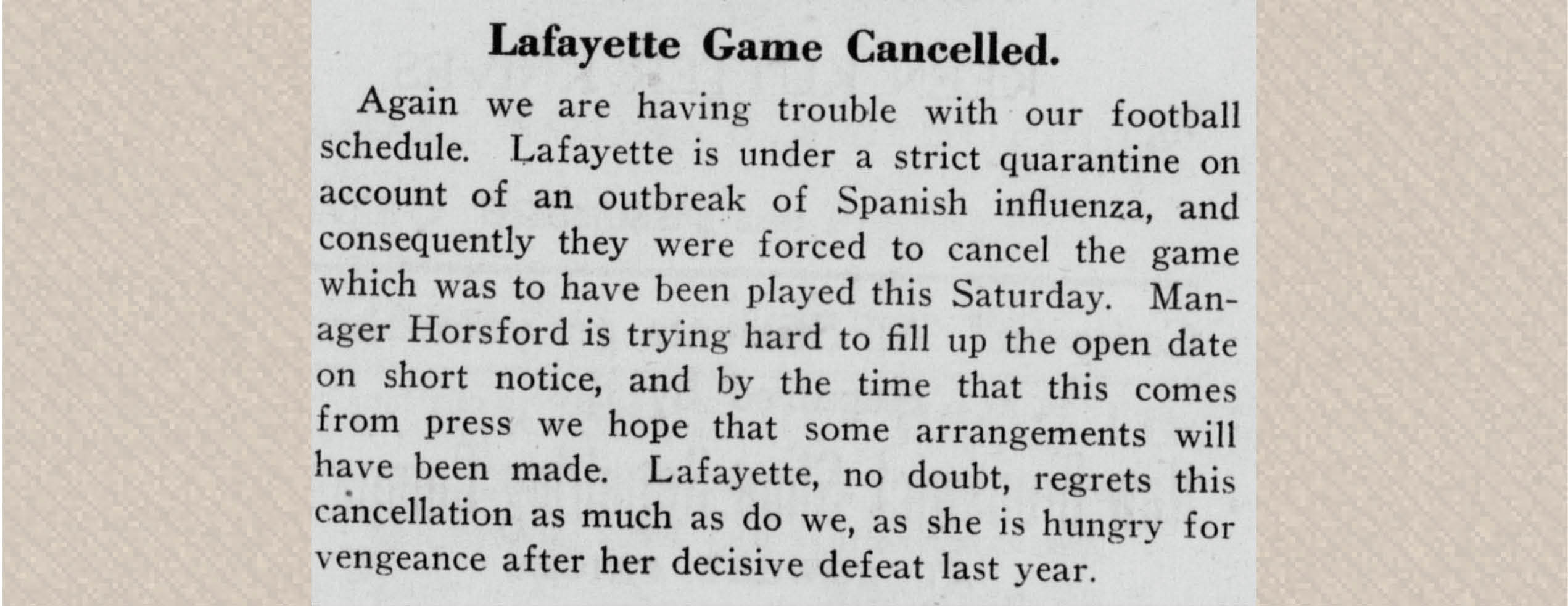 press clipping: Lafayette Game Cancelled (pg43 The Targum (October 9, 1918),  )