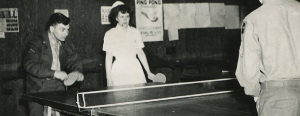 Playing ping pong at the USO, Fort Dix, New Jersey, 1948.