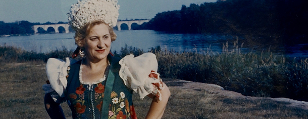 Portrait of Angela Horvath in Hungarian dress taken in Johnson Park, Piscataway, New Jersey in the summer of 1960.