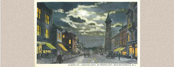 Albany St., Looking East, by Moonlight, New Brunswick, N.J., between 1900-1950