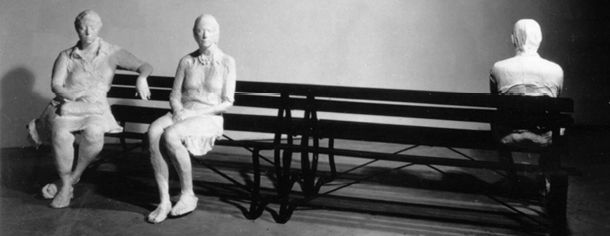 "George Segal sculpture, ""Three People On Four Benches"", 1979"