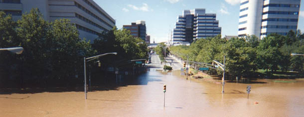 water flooding up Albany, looking west from RT 18 towards Hyatt(left) and J&J(right)