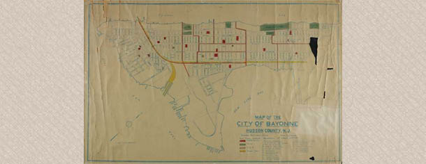 Map of the City of Bayonne Hudson County, N.J. with school district boundaries, 1910-1921