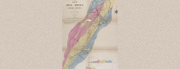Sussex County zinc mines map 1867