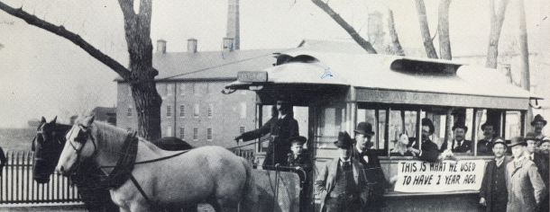 Horse Drawn Trolley, Albany and Burnet Streets, 1894